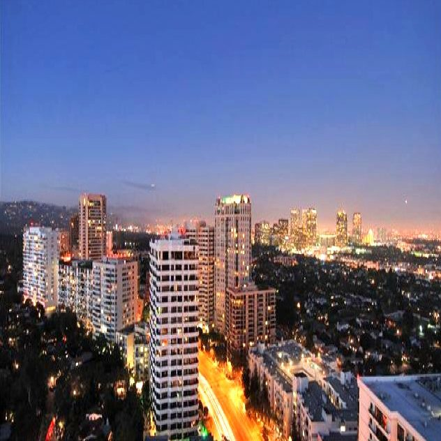 Skyline of West LA along Wilshire Corridor. Temporary Housing in Los Angeles available in this location.