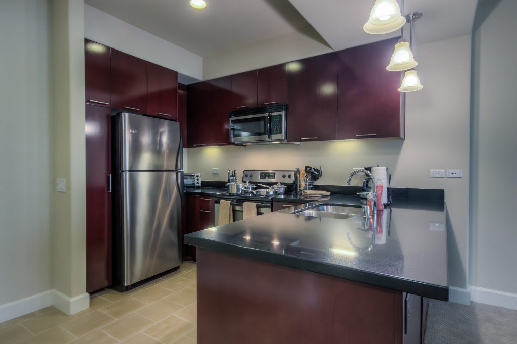 Modern kitchen appliances in every unit at Bedford Corporate Housing's property in Glendale Americana. For the best short term apartments in Los Angeles, contact Bedford.