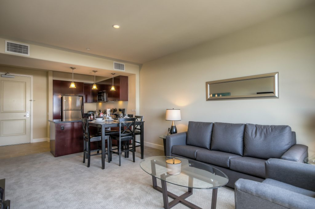 Spacious living spaces at Bedford Corporate Housing's property in Glendale Americana. For the best short term rental in Los Angeles, contact Bedford.