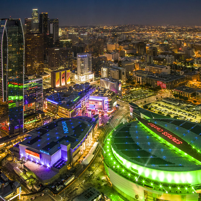 Aerial view of Staples Center and LA Live. Nearby Temporary Housing in Los Angeles.