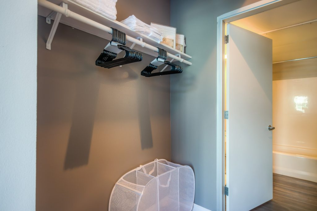 Spacious closets in every unit at Bedford Corporate Housing's property in Downtown LA near LA Live. For the best short term apartments in Los Angeles, contact Bedford.