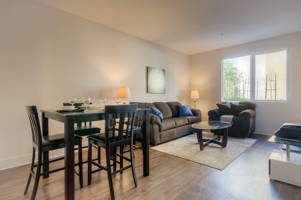 Spacious living room at Bedford Corporate Housing's property in Playa Vista. For the best short term apartments in Los Angeles, contact Bedford.