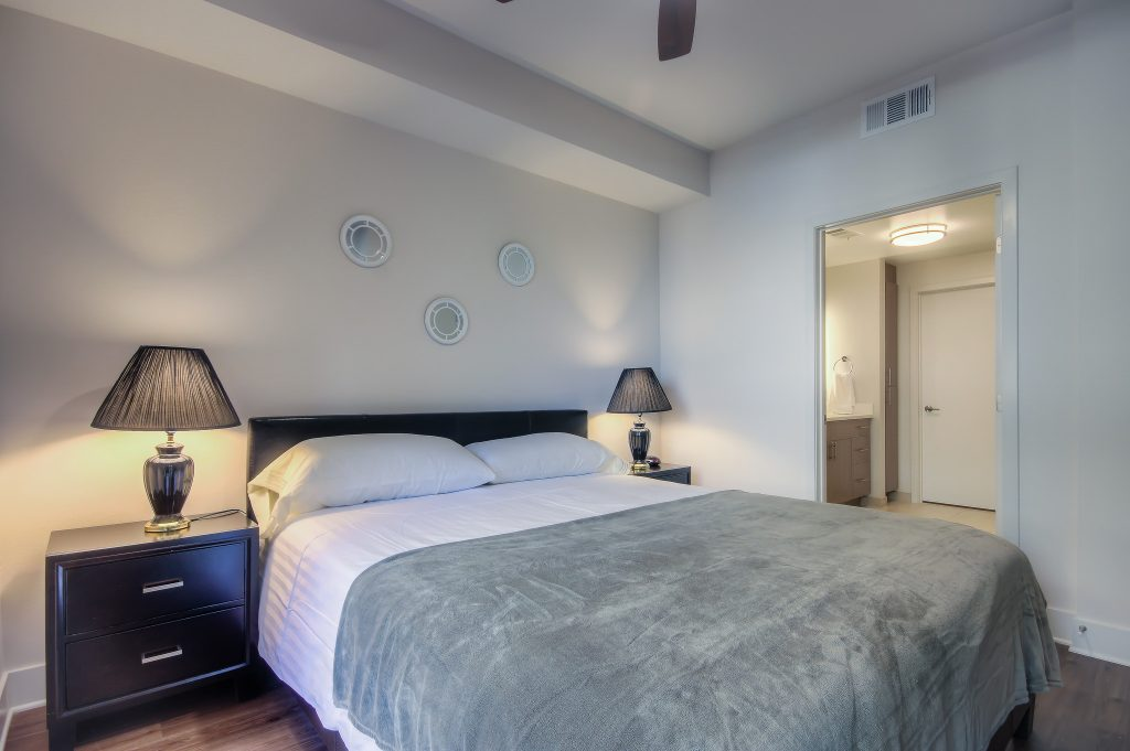 Comfortable bedrooms at Bedford Corporate Housing's property in Playa Vista. For the best furnished apartments in Los Angeles, contact Bedford.
