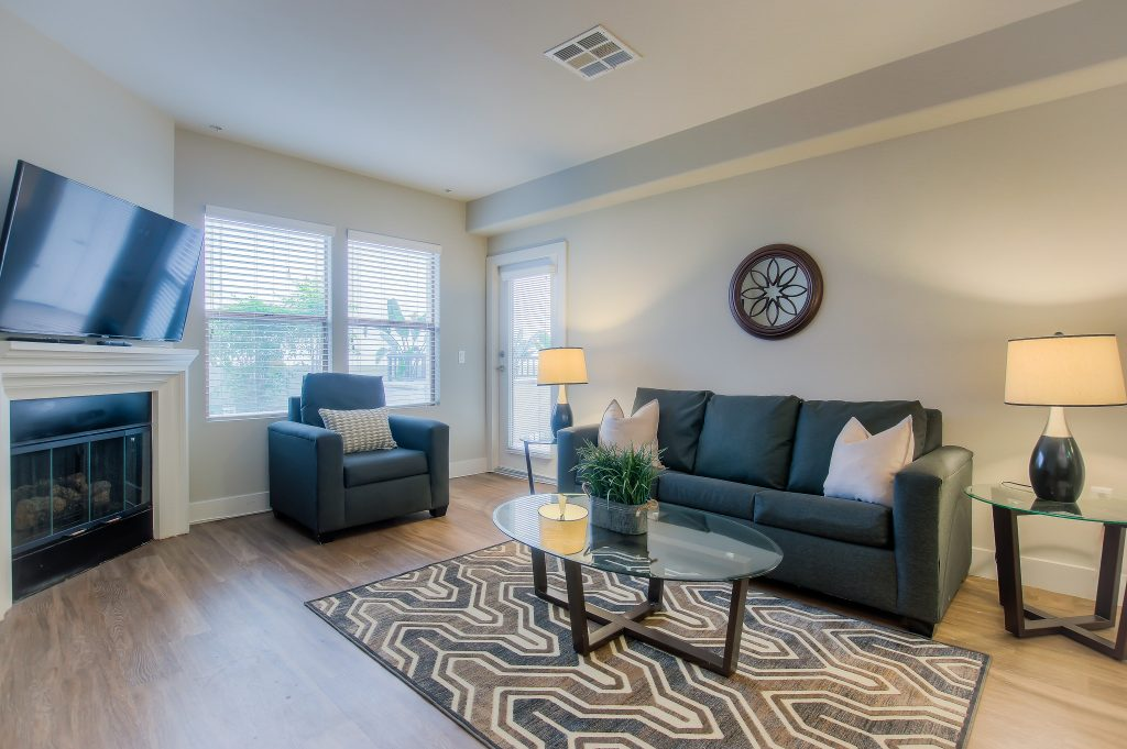 This beautiful living room is available at Bedford Corporate Housing's property in Westwood Village. For the best Short Term Apartments in Los Angeles, contact Bedford.