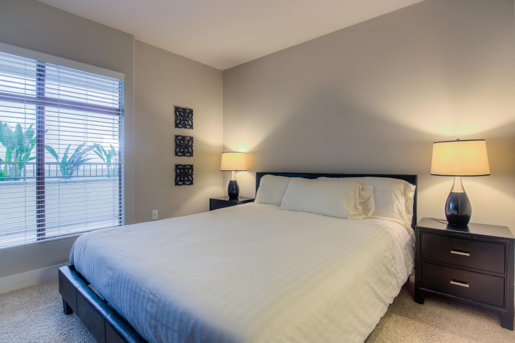 Example of beautiful bedroom at Bedford Corporate Housing's property in Westwood Village. For the best Short Term Apartments in Los Angeles, contact Bedford.