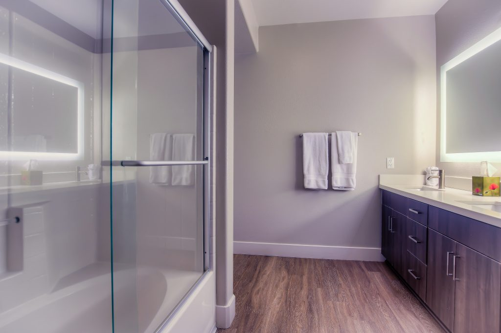 Example of luxurious bathroom at Bedford Corporate Housing's property in Westwood Village. For the best Short Term Apartments in Los Angeles, contact Bedford.