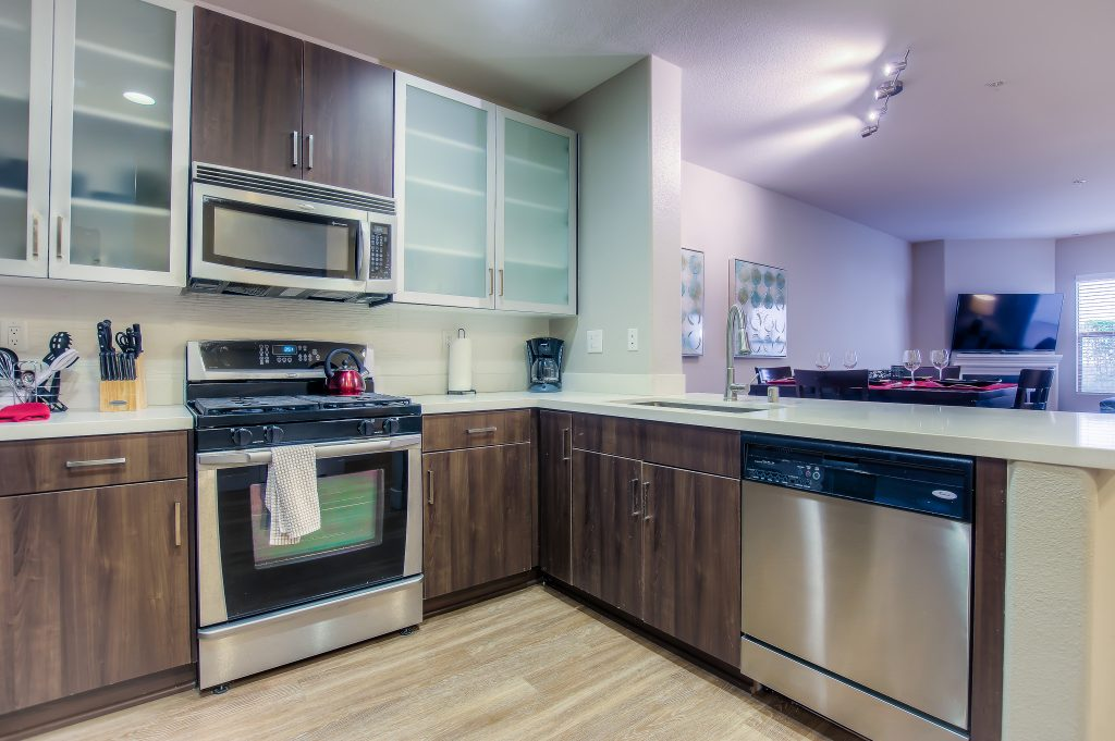 This beautiful kitchen is available at Bedford Corporate Housing's property in Westwood Village. For the best Furnished Apartments in Los Angeles, contact Bedford.