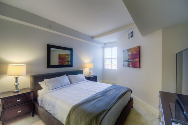 Sample bedroom at Bedford Corporate Housing's property in Westwood Wilshire Corridor. For the best Furnished Apartments in Los Angeles, contact Bedford.