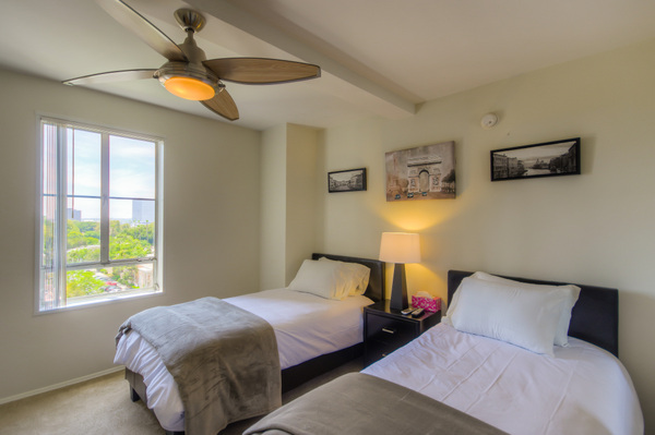 Beautiful furnished bedrooms at Bedford Corporate Housing's property in Hollywood near The Grove Towers. For the best short term apartments in Los Angeles, contact Bedford.