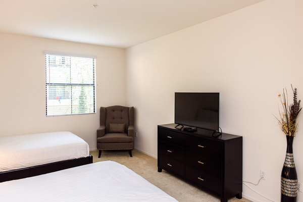 Furnished bedrooms in every unit at Bedford Corporate Housing's property at Irvine Village. For the best Furnished Rentals in Los Angeles, contact Bedford.