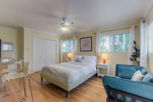Interior of Santa Monica apartment. Lots of light and color. Short Term Rental in Los Angeles.