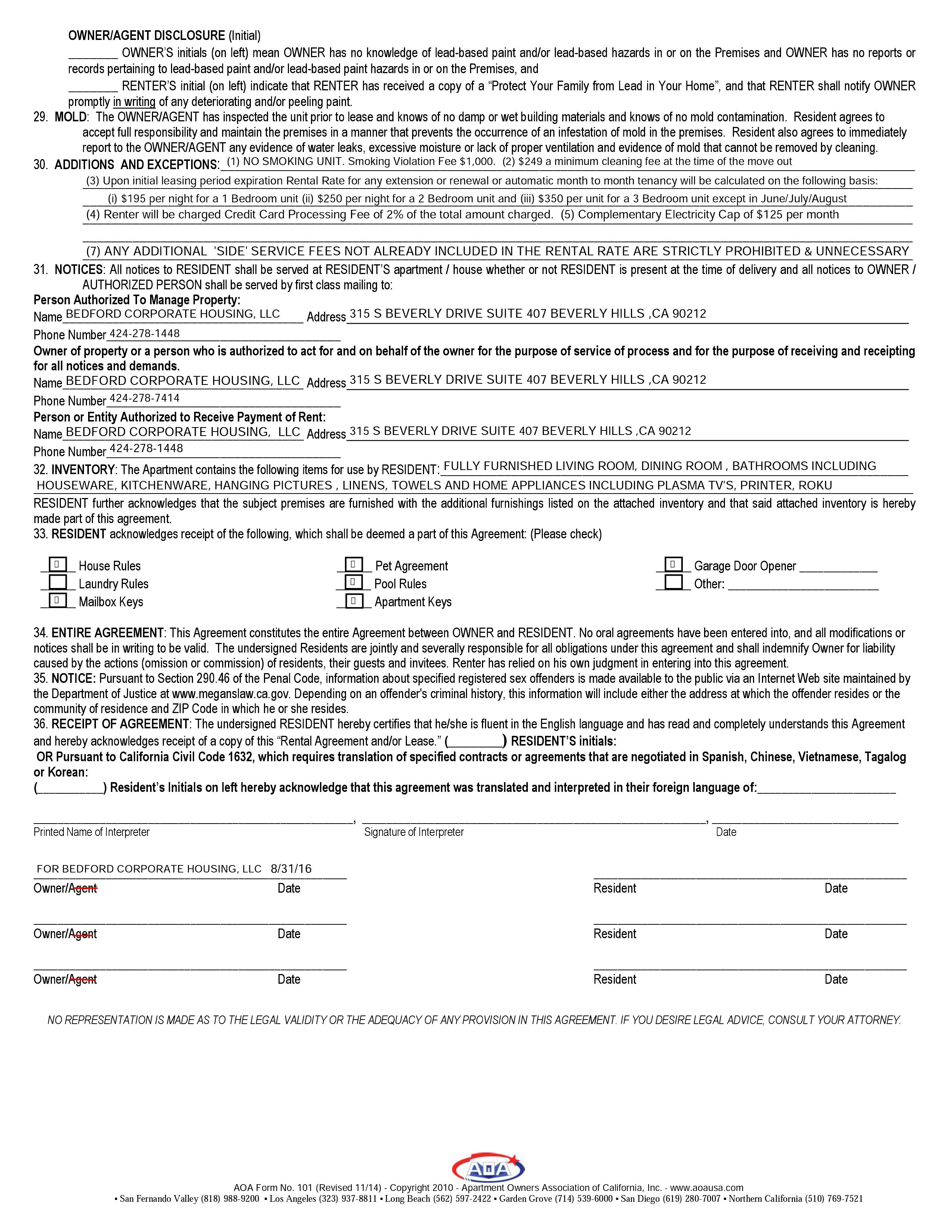 Sample Lease Agreements Documents Corporate Housing In Los Angeles
